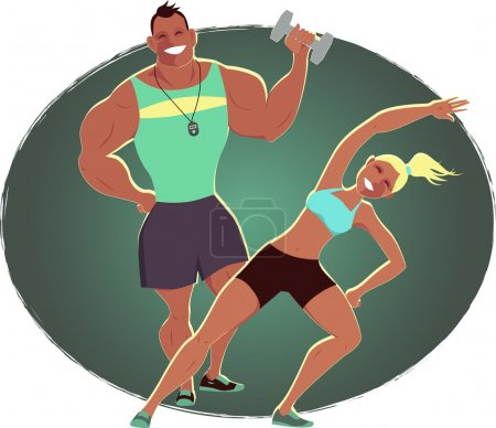 Illustration for Female fitness instructor and male personal trainer on an abstract oval background, vector cartoon - Royalty Free Image