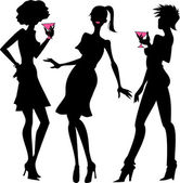 Three party girls silhouettes