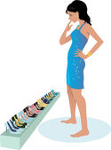 Young pretty woman in a sparkly cocktail dress choosing shoes from a long line up on her way to a party vector illustration