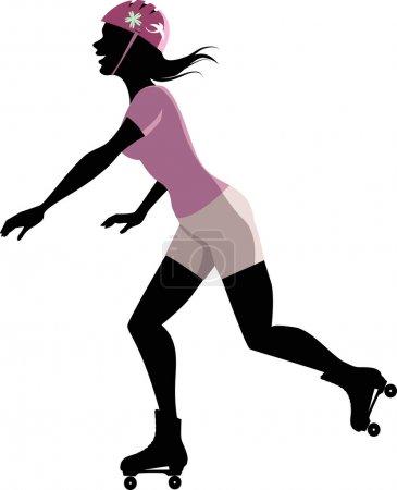 Silhouette féminine de patineuse à roulettes