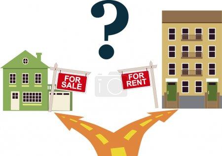 Illustration pour Une bifurcation mène à une maison à vendre ou à un immeuble d'habitation avec un panneau à louer, illustration vectorielle - image libre de droit