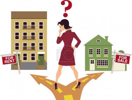 Illustration pour Femme debout sur un carrefour, décidant de louer un appartement ou d'acheter une maison, point d'interrogation au-dessus de sa tête, illustration vectorielle - image libre de droit