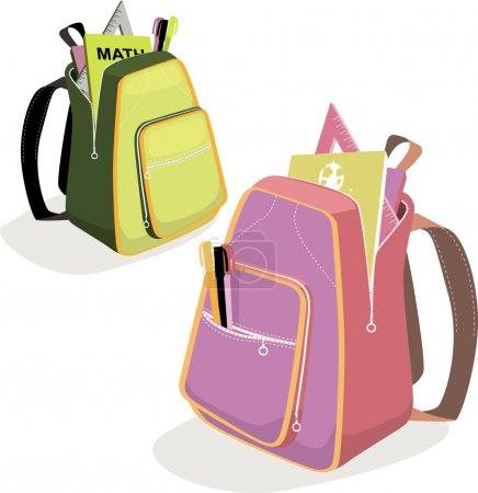 Illustration for Two open school backpacks for boys and girls with tools and books, vector illustration - Royalty Free Image