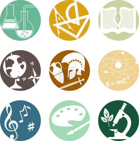 Set of circular icons with symbols of middle and h...