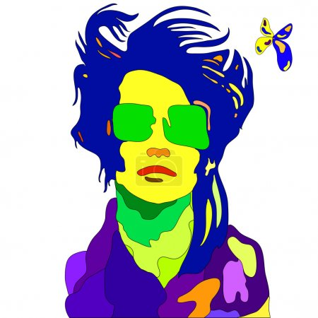 Illustration for Pop - art colored portrait of young fashion woman - Royalty Free Image