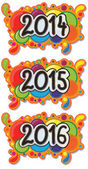 From 2014 to 2016 year sign hand drawn on abstract colourful bubble background also hand drawn in cartoon style