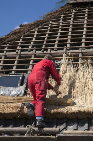 Workman thatching a new roof