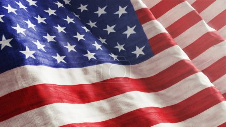 Photo for High resolution American Flag flowing with texture fabric detail. - Royalty Free Image