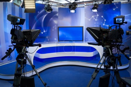 TV studio with camera and lights - Prepared for th...