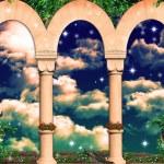 Sky behind the columns...