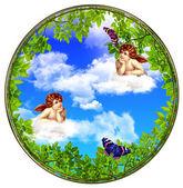 """Постер, картина, фотообои """"Ангелы с облаками"""""""