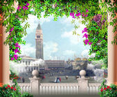 Old city with flowers