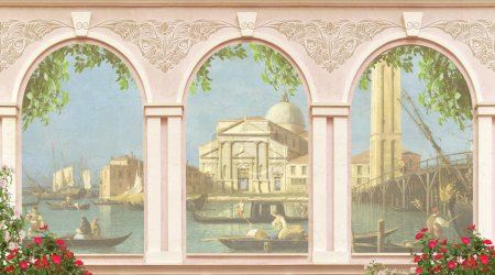 Photo for The view from the window to Venice.Vintage illustration - Royalty Free Image
