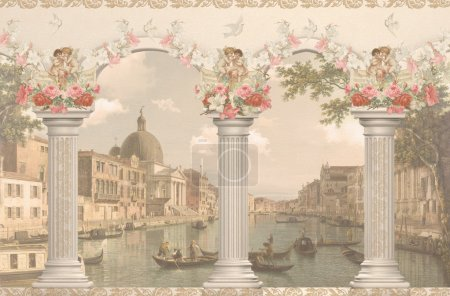 Photo for View of Venice against the columns with angels and flowers - Royalty Free Image
