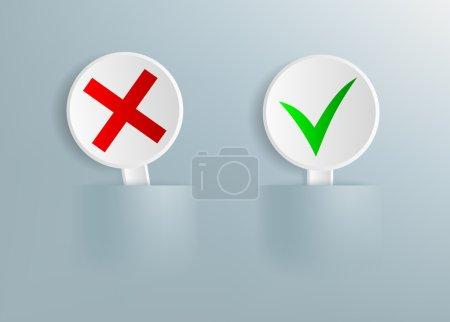 Photo pour Plaques avec une croix rouge et la coche verte - image libre de droit