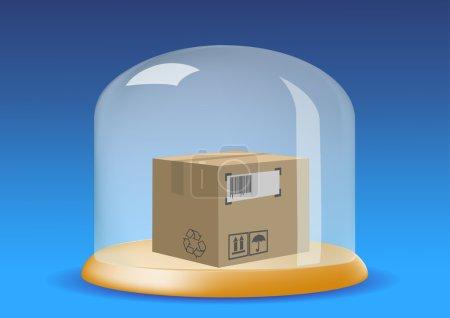 cardboard box in a bubble