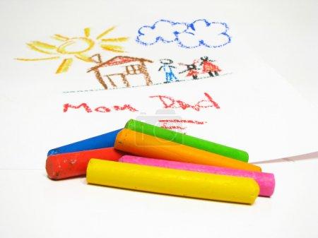 Photo pour Crayons à huile et dessin pour enfants sur fond - image libre de droit