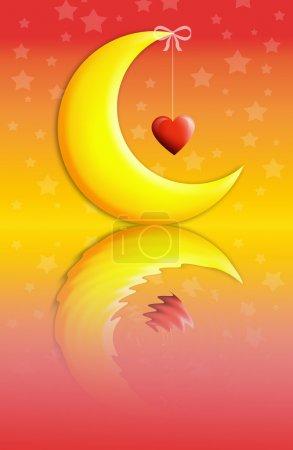 Photo pour Lune et étoile pour une bonne nuit avec cœur - image libre de droit