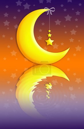 Photo pour Lune et étoile pour une bonne nuit avec réflexion - image libre de droit