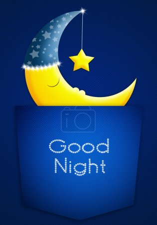 Photo pour Illustration de lune endormie dans la poche - image libre de droit