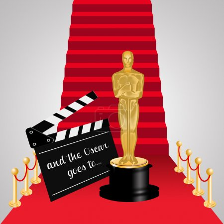 Illustration of Oscar statuette on Red carpet scale