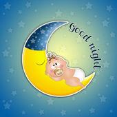 Bambino che dorme sulla luna