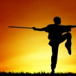 Illustration of Shaolin pose at sunset...