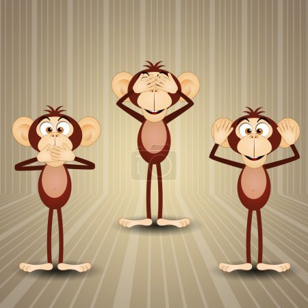 Photo pour Illustration des trois singes sages - image libre de droit