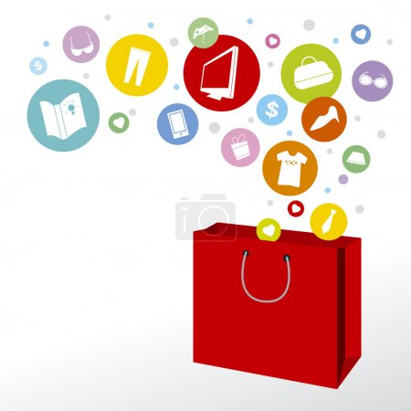 Illustration for Shopping bag and fashion icon design - Royalty Free Image