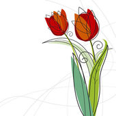 Tulip design on white background