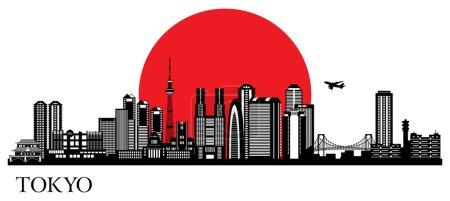 Illustration for Tokyo city silhouette. Vector skyline illustration - Royalty Free Image