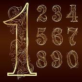 Set of vintage floral numbers