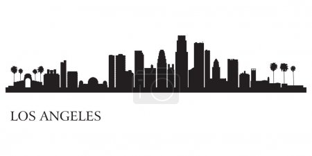 Illustration for Los Angeles city skyline silhouette background. Vector illustration - Royalty Free Image
