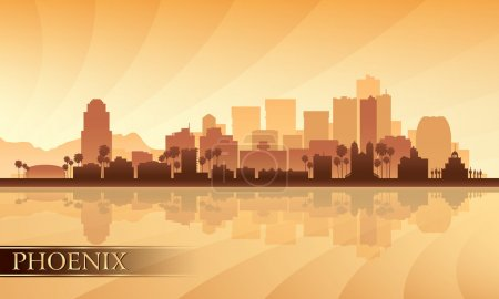 Illustration for Phoenix city skyline silhouette background. Vector illustration - Royalty Free Image