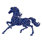 Symbol of Year 2014 blue horse isolated icon vector silhouette illustration Full editable EPS 10