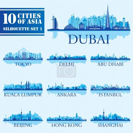 Photo pour Ensemble de silhouettes de villes skyline. 10 villes d'Asie 1. Illustration vectorielle - image libre de droit