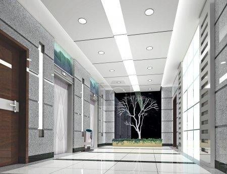 Photo pour Interior design moderne de l'ascenseur. rendu 3D - image libre de droit