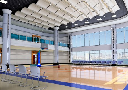 Photo pour Gymnase moderne intérieur - basket-ball.3D render - image libre de droit
