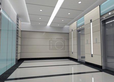 Modern design interior of elevator lobby. 3D rende...