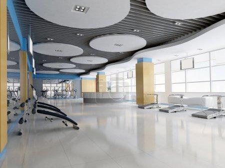 Photo pour Gymnase moderne intérieur.Rendre 3D - image libre de droit