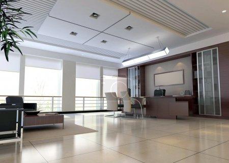 Photo pour Une salle de bureau avec personne. rendu 3D - image libre de droit