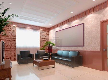 3d render modern interior of living-roo