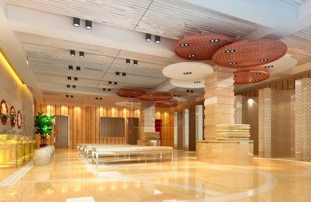Photo pour Salles de bains publics design moderne du hall. rendu 3D - image libre de droit