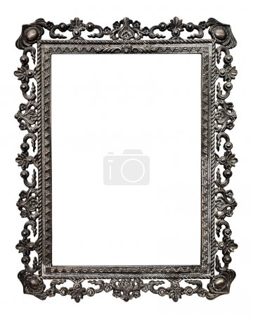 Photo for Old metallic picture frame (No#13), isolated on white background (detailed clipping paths included, selection made using pen tool at 200%-300%view) - Royalty Free Image