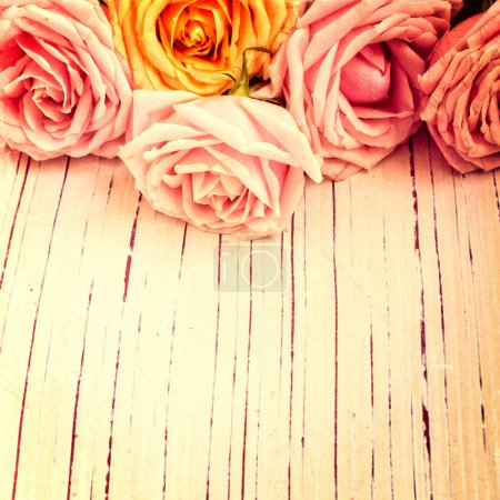 Photo for Vintage retro background with roses - Royalty Free Image