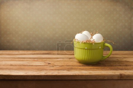 Background with easter decoration over retro wallpaper