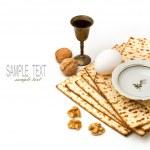 Matzo, egg, walnuts and wine for passover celebrat...