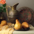 Vintage still life with brown pears...