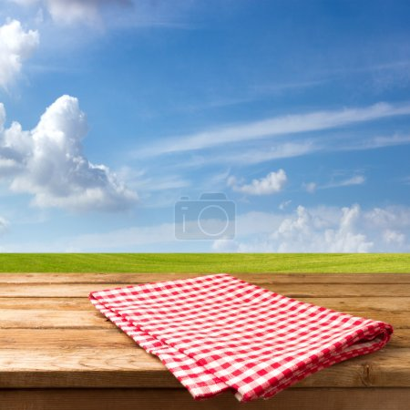 Empty table with tablecloth