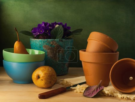 Still life with flower pots and bowls on wooden table